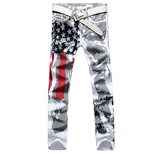 Longe Men Casual American USA Flag Printed Washed Jeans Pants Mens Graffiti Print White Hip-hop Fashion Jean Slim Fit Trousers (34, White)