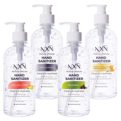 NxN Hand Sanitizer 70% Alcohol, Variety Pack: Fresh Lavender, Pine Needle, Cara Cara Citrus, Sweet Vanilla & Golden Honey Scent, Leaves Hands Feeling Soft - 12 Oz - Made in The USA (4 Pack)