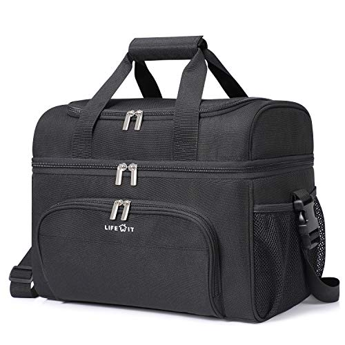 Lifewit Soft Cooler Bag 32-Can Lightweight Portable Cooler Tote Double Layer Black