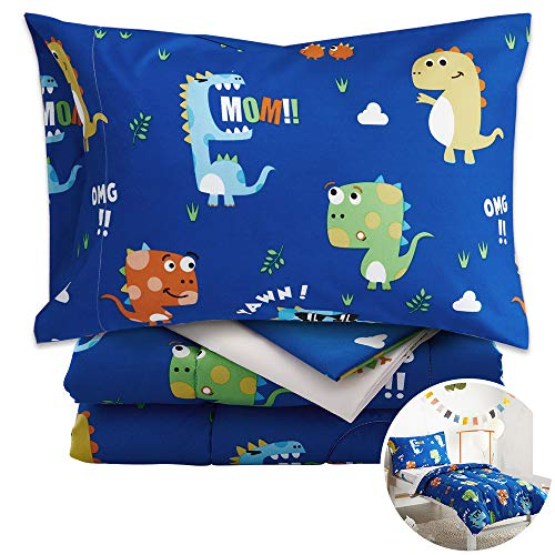 Uozzi Bedding Unicorn 4 Piece Colorful Dinosaurs Toddler Bedding Set with Orange Yellow Green Blue Monster Boys Bed Comforter sheetSet