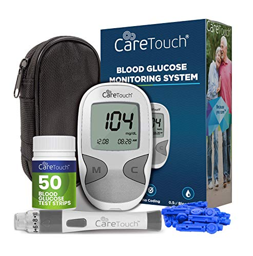 Care Touch Diabetes Testing Kit - Blood Glucose Monitor, 50 Blood Glucose Test Strips, 100 30-Gauge Lancets, Lancing Device, Battery, and Carrying Case   for Blood Sugar Testing and Monitoring