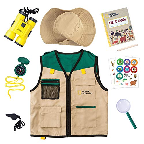 NATIONAL GEOGRAPHIC Backyard Safari Costume - Outdoor Explorer Set for Kids with Safari Vest, Hat, Kids Binoculars, Magnifying Glass for Kids, Journal & Stickers, Outdoor Toys for Boys and Girls