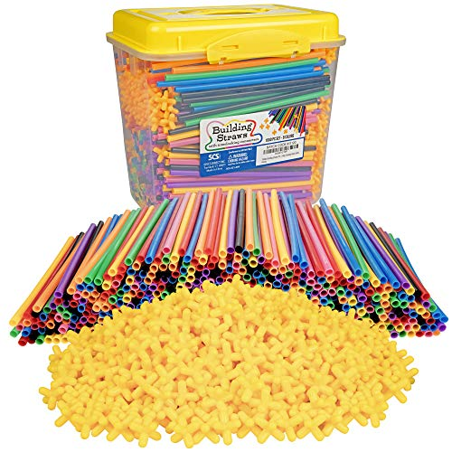 1000pc Building Straws & Connectors Set for Kids - STEM Educational Construction Toy Includes Assorted Colors & Interlocking Connectors - Helps Develop Motor Skills & Learning - Age 3+