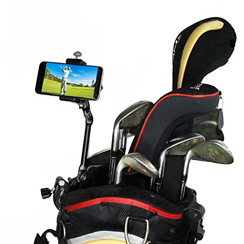 Golf Gadgets   Adjustable Bag Clamp Setup - Video Recording & Device Mounting System Using Your Phone. Capture Footage on The Course or Range. (Black Clamp)