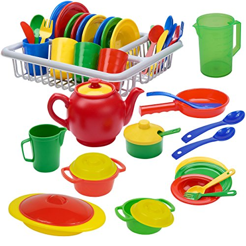 IQ Toys 40 Piece Play Dishes Set Pretend Play Childrens Unbreakable Toy Dish Set and Cookware Accessories for Toddlers Kitchen, Durable Playset with Plates, Cutlery, Drainer, and More