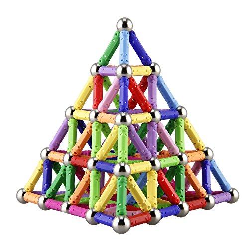Elongdi 130 Pieces - Magnetic Building Sticks Building Blocks Set, Magnet Educational Toys Magnetic Blocks Sticks Stacking Toys Set, Non-Toxic Building Toy 3D Puzzle with Storage Bag