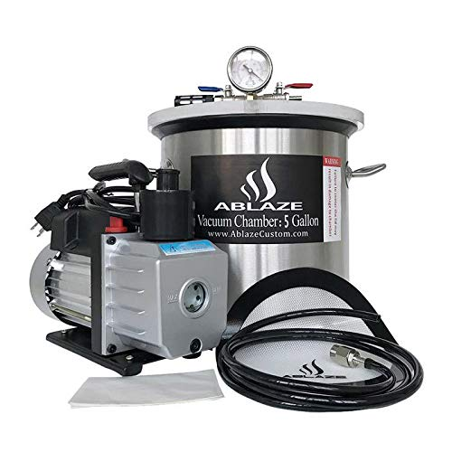 ABLAZE 5 Gallon Stainless Steel Vacuum Degassing Chamber and 3 CFM Single Stage Pump Kit