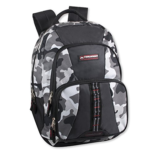 Trailmaker Tactical Military Style Camo Backpack with Lash Tabs and Padded Back and Straps, Grey