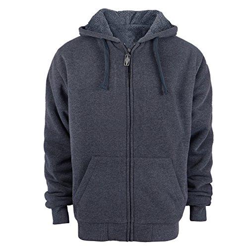 Heavyweight Hoodies for Men, 1.8lbs Sherpa Lined Fleece Full Zip Up Winter Sweatshirts Jackets Dark Grey L
