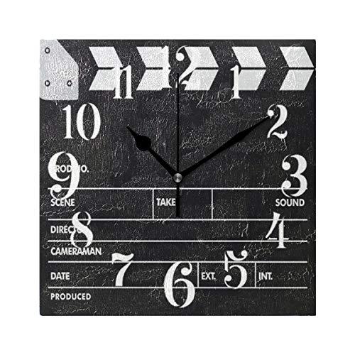 WIHVE Square Hanging Clock Clapperboards 8 Inch Vintage Wall Clock for Living Room Kitchen Bedroom Office