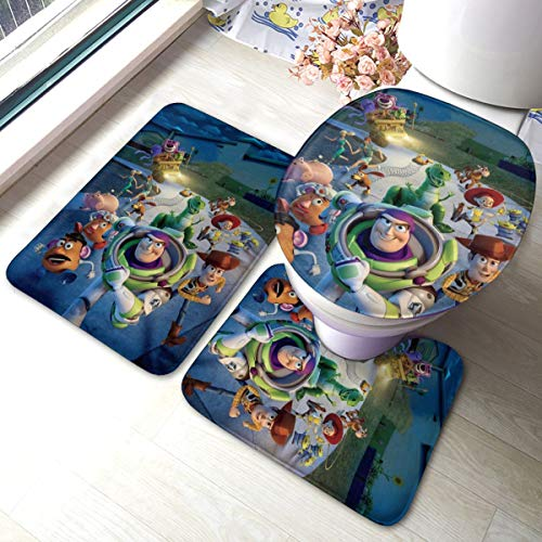 Heavenly Battle Toy Story Bath Mat 3 Piece Set,Bathroom Carpet Set Bath and Absorbent Bath and Mat Pads Sets Anti-Skid Pads Bath Mats + Contour Pads + Toilet Lid