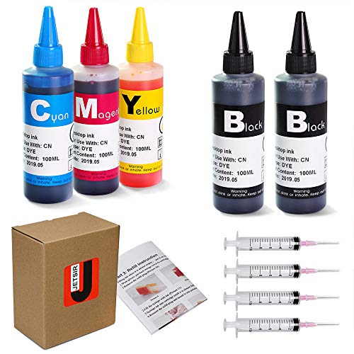 JetSir 4 Color Compatible Refill Ink kit for Canon 250 251 270 271 280 281 PG240 CL241 PG245 CL246 PG210 CL211 1200 2200 Inkjet Cartridge, CISS ect, 100ml x5 bottle with 4 Syringe and Instruction