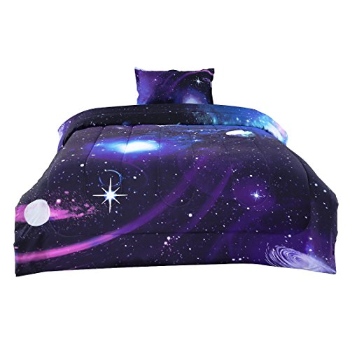 uxcell Twin Size Galaxies Purple Comforter Sets - 3D Outer Space Themed Bedding - All Season Down Alternative Quilted Duvet - Reversible Design- Includes 1 Comforter and 1 Pillowcase