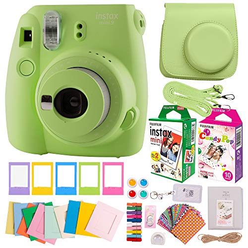 Fujifilm Instax Mini 9 Camera Value BUNDLE with Everything Needed for Girls & Kids to Take & Print Pictures. Includes Fuji Instant Film (40 Sheets), Premium Case, Lens, Filters, Cute Album, St (Green)