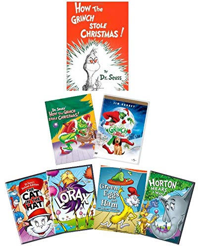 Ultimate Dr. Seuss' How the Grinch Stole Christmas DVD + Book Set: 1966 Boris Karloff Animated Edition / 2000 Jim Carrey Edition / 1957 Book + Cat in the Hat/Lorax/Horton Hears a Who/Green Eggs & Ham
