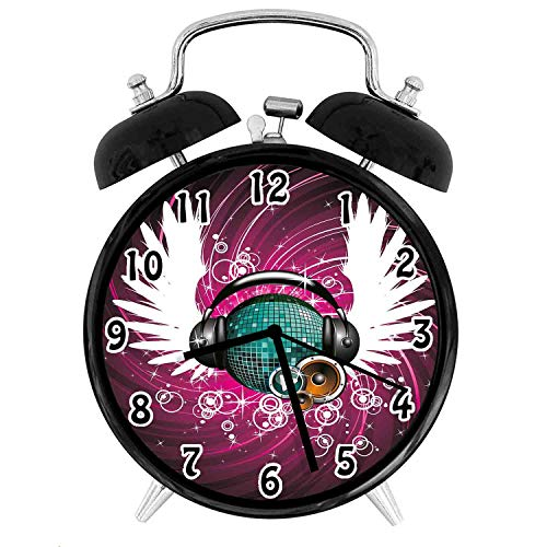 22yiihannz Popstar Py Silent Luminous Alarm Clock,Disco Ball with Headphones and Angel Wings Vibrant Swirl with Circles-No Ticking,Soft Night Light,The Best Gift for Family or Friends-4 inch