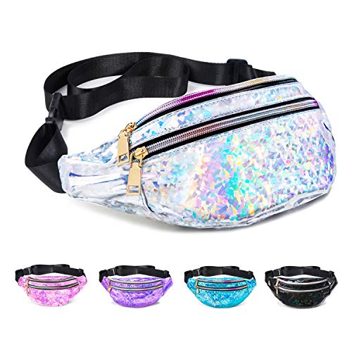 Fanny Pack Belt Bag, Holographic Fanny Packs for Women Men Kids, Fashion Waterproof Waist Pack with 3 Pouches Adjustable Strap, Shiny Casual Bags Cute Bum Bag (Diamond Holographic Silver Fanny Pack)