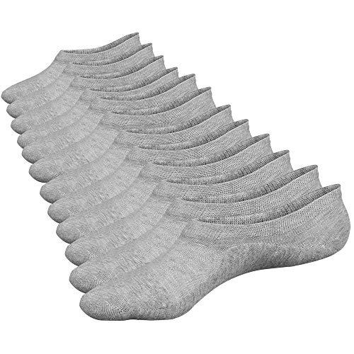 Closemate No Show Socks 6 Pairs Non Slip Cotton Low Cut Invisible Casual Socks for Men & Women (6Grey, M: Men's Size: 6-10 / Women's Size: 7-11)