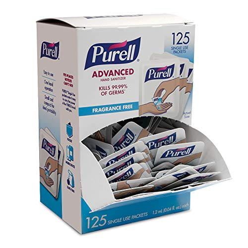 Purell SINGLES Advanced Hand Sanitizer Gel, Fragrance Free, 125 Count Single-Use Travel Size Packets - 9620-12-125EC