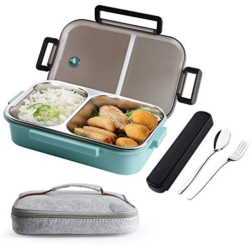 TiLeMiun Bento Box, Leakproof Stainless Steel Bento Lunch Box with 2-Compartment Portion Control Food Container, Insulated Bag & Portable Utensil (34oz,blue)