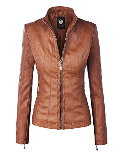 Lock and Love LL WJC877L Womens Panelled Faux Leather Moto Jacket S Camel