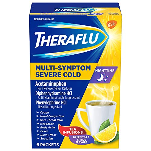 Theraflu Nighttime Multi-Symptom Severe Cold Hot Liquid Powder Green Tea and Citrus Flavors 6 Count Box