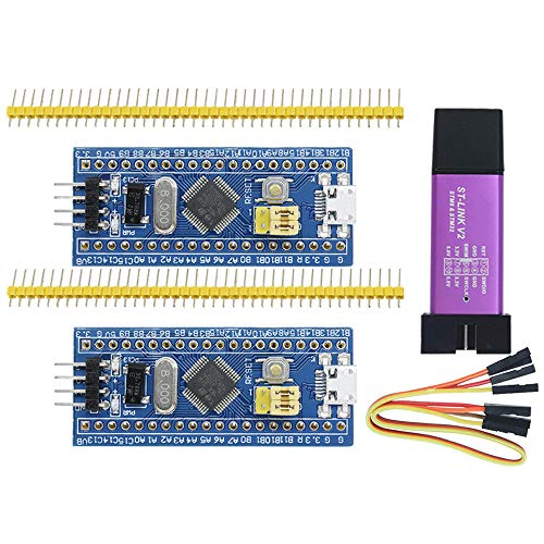Aideepen ST-Link V2 Programming Unit Emulator Downloader(Random Color)+2PCS 40pin STM32F103C8T6 ARM STM32 SWD Minimum System Board Micro USB