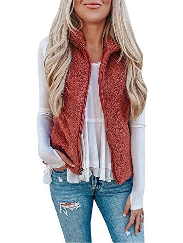 SHIBEVER Womens Casual Fuzzy Vest Sleeveless Sherpa Fleeve Zip Up Warm Cardigan Waistcoat Outwear with Pockets Pink S