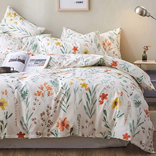 mixinni Queen Garden Duvet Cover Set Full Soft Cotton Floral Flower Bedding Set with Zipper Closure 2 Envelope Pillowcases Green Leaf Printed Comforter Cover Set-Easy Care, Soft and Durable-Spring