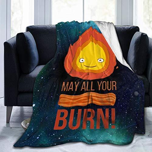 Heyuchuan Studio Ghibli Calcifer May All Your Bacon Burn Howls Moving Castle Unisex Anti-Pilling Durable Flannel Fleece Blanket Throw Blanket 60'X50'
