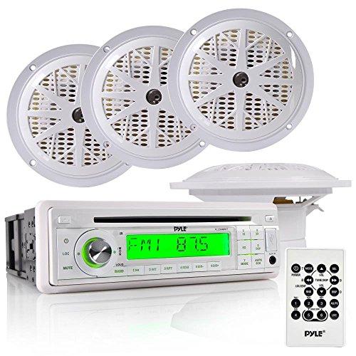 Pyle Marine Stereo Receiver & Speaker Kit with CD Player, AM/FM Radio, MP3/USB/SD Readers, Single DIN, (4) Waterproof 5.25'' Speakers, Splash Proof Cover (PLCD6MRKT)