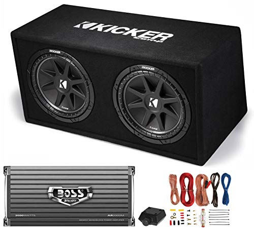 Kicker DC122 Dual 12' 600W Car Audio Subwoofers + Box + Boss 2000W Amp + Amp Kit