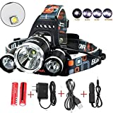 Newest And Best Version Headlamp, IMPROVED LED Head Light With 10000 Lumen Waterproof Hard Hat Light, Camping Fishing Maximum Lighting up to 500M Comfort Headlamps For Outdoor & Indoor (Silver)