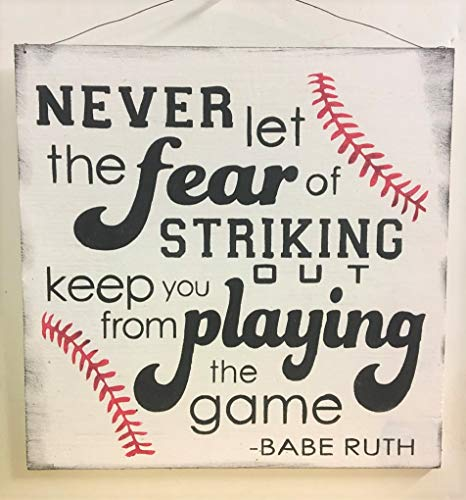Never let The Fear of Striking Out Keep You from Playing The Game Baseball Boys Sports Room Wooden Wall Art Sign Boys Bedroom Decor