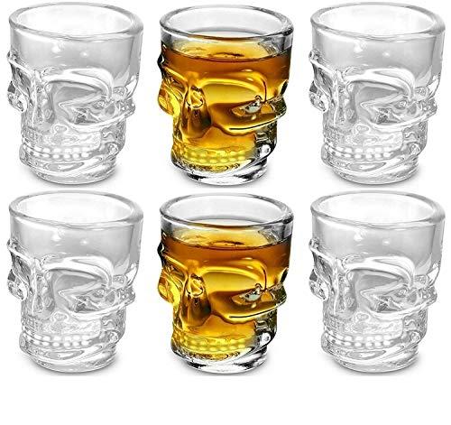 King International 1.5 Oz Shot Glass , Skull Face Heavy Base Shot Glass Set, Whiskey Shot Glass 6-Pack Perfect for Wine Tasting, Tequila, Shooter, Cocktail Pourer, Jigger-clear glass shot glasses-60ml