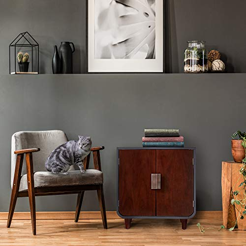 Staart -- Dyad Cat Litter Box Enclosure and Furniture Hidden Cat Home Side Table Nightstand Indoor Pet Crate Mocha Walnut