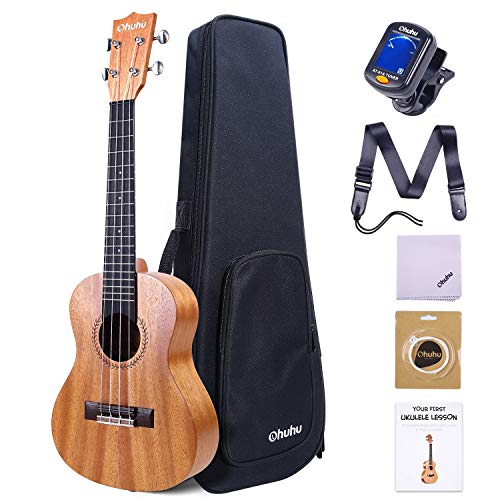 23 Inch Ukelele for Adults, Ohuhu Concert Ukuleles for Uke Beginners, with Tuner, Ukalalee Backpack Style Gig Bag, Ukelele Strap (Strap Pins and Aquila Strings Installed) for Father's Day Gift Idea