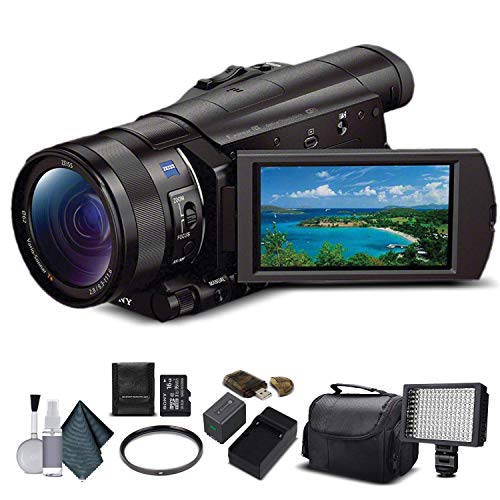 Sony FDR-AX100 4K Ultra HD Camcorder (FDR-AX100 4K PAL) With 16GB Memory Card, Extra Battery and Charger, UV Filter, LED Light, Case and More. - Starter Bundle