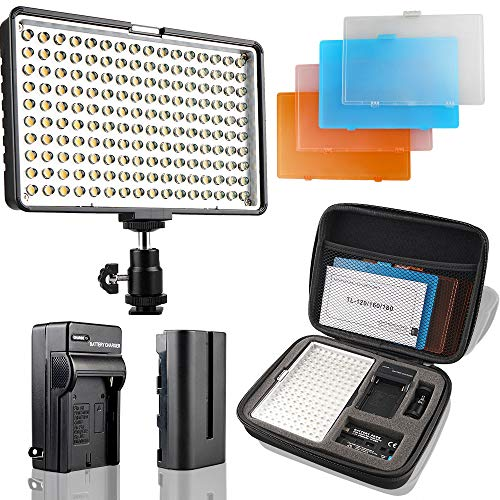 LED Camera Light/Camcorder Video Light Panel, SAMTIAN 160 LED Video Photo Light Kit, Ultra Bright Photography Light with Four Color Filters, Battery, Charger, Carry Case for All DSLR Cameras
