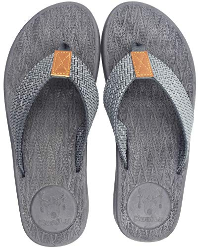 KUAILU Mens Flip Flops Thong Sandals Yoga Foam Slippers Grey