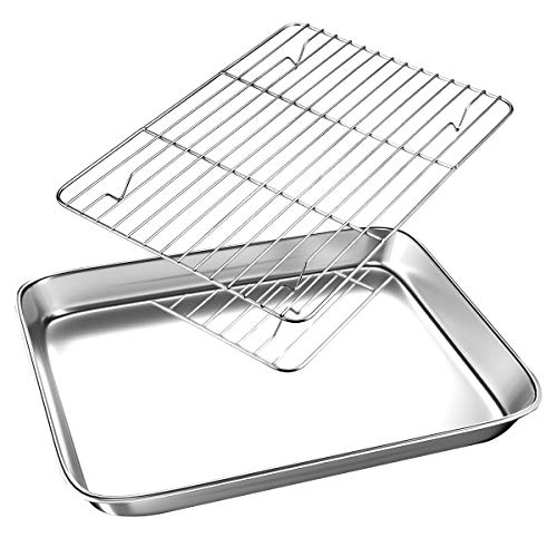 SMALL Toaster Oven Tray with Cooling Rack, 10.4 x 8.1 x 1 inch Cookie Pans Baking Sheet, FODCOKI Metal Stainless Steel Bakeware Set, Sturdy Heavy Easy Clean Dishwasher Safe