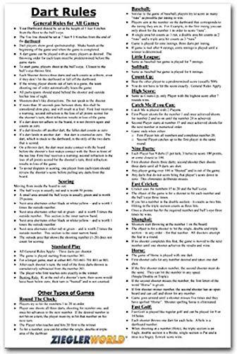ZieglerWorld 11 x 17 Large Laminated Dart Rules & Regulations Poster