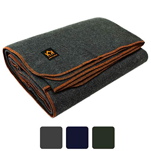 Arcturus Military Wool Blanket - 4.5 lbs, Warm, Thick, Washable, Large 64' x 88' - Great for Camping, Outdoors, Survival & Emergency Kits (Military Gray)