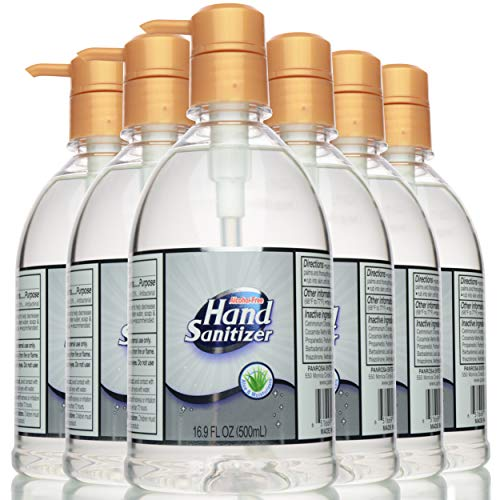 Hand Sanitizer ALCOHOL-FREE Gel for All Skin Types 16.9 Oz (500 mL)   Made in USA   Aloe Vera and Moisturizer for Soft Hands   101.4 Oz (pack of 6) with Pump