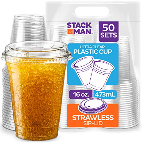 Stack Man PET16-626SL-50 16 oz. Clear Cups with Strawless Sip-Lids, [50 Sets] PET Crystal Clear Disposable 16oz Plastic Cups with Lids