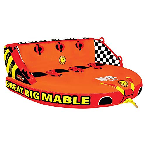 SportsStuff Great Big Mable | 1-4 Rider Towable Tube for Boating, Orange, Red, Yellow