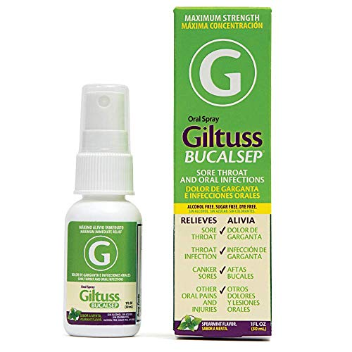 Bucalsep Canker Sore Relief Medicine by Giltuss   Remedy for Cold Sores, Mouth Ulcers and Infections, Sore Throat   Oral Spray 30ml