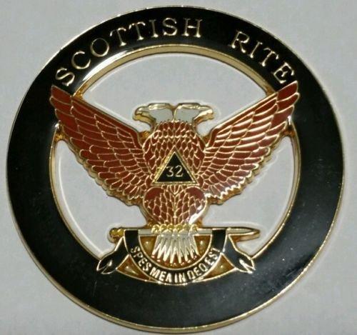 Freemason Masonic Scottish Rite 32nd Degree Wings Up Car Emblem