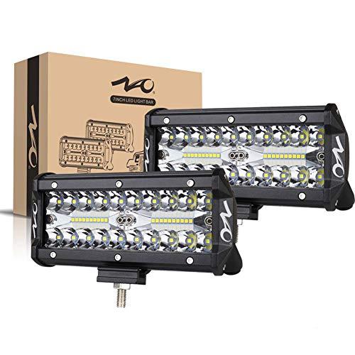 naoevo 7inch LED Light Bar, 240W 24,000LM Offroad Fog Light Driving Lights LED Pods with Spot Flood Combo Beam, Waterproof Led Work Lights for UTV ATV Jeep Truck Boat, 2 Pack