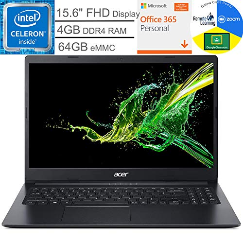 Acer Aspire 1 15.6' FHD Laptop Computer, Intel Celeron N4020 up to 2.8GHz, 4GB DDR4 RAM, 64GB eMMC, Webcam, Microsoft 365 Personal, Windows 10 S, BROAGE Mouse Pad + 32GB SD Card, Online Class Ready